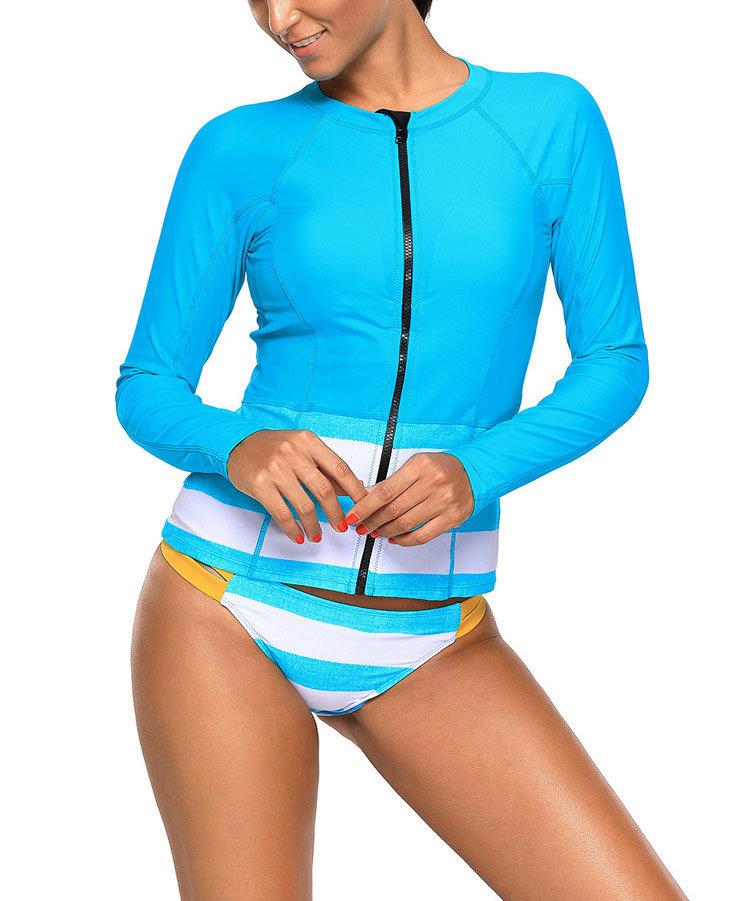 Swimsuit with Zip-Front Rash Guard
