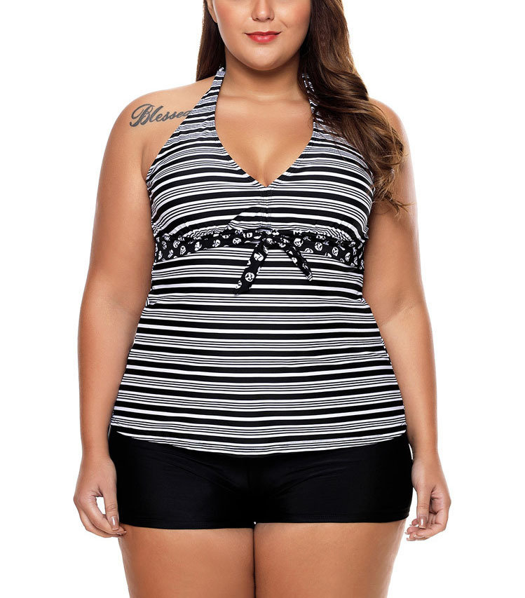 Sporty Swimsuit with Swimdress Top and Boy Shorts