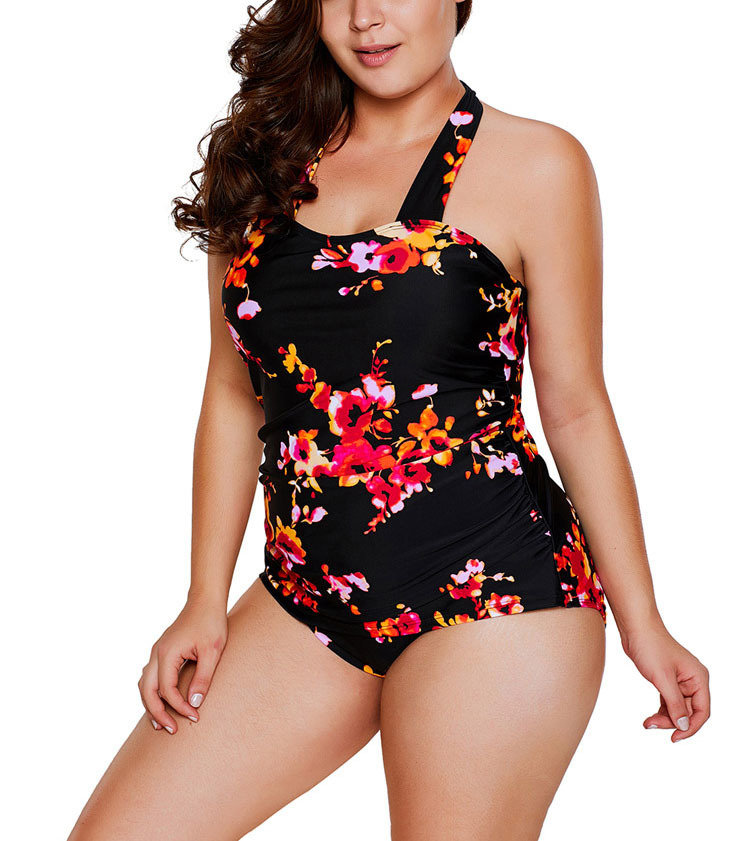 One-Piece Swimsuit with Gathered Front and Wide Straps