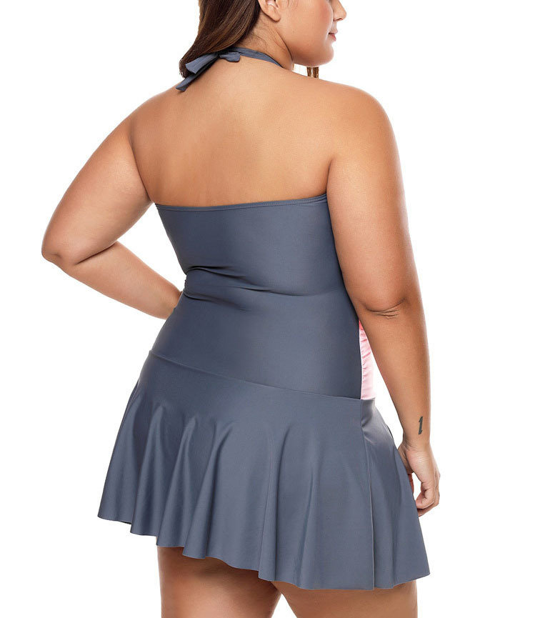 Skirted One-Piece Swimsuit in Graduated Colors