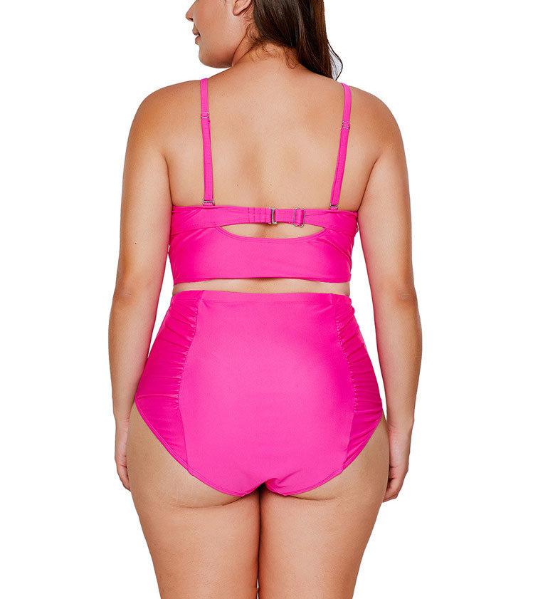 Two-Piece Swimsuit with Lattice Trimmed Longline Bra