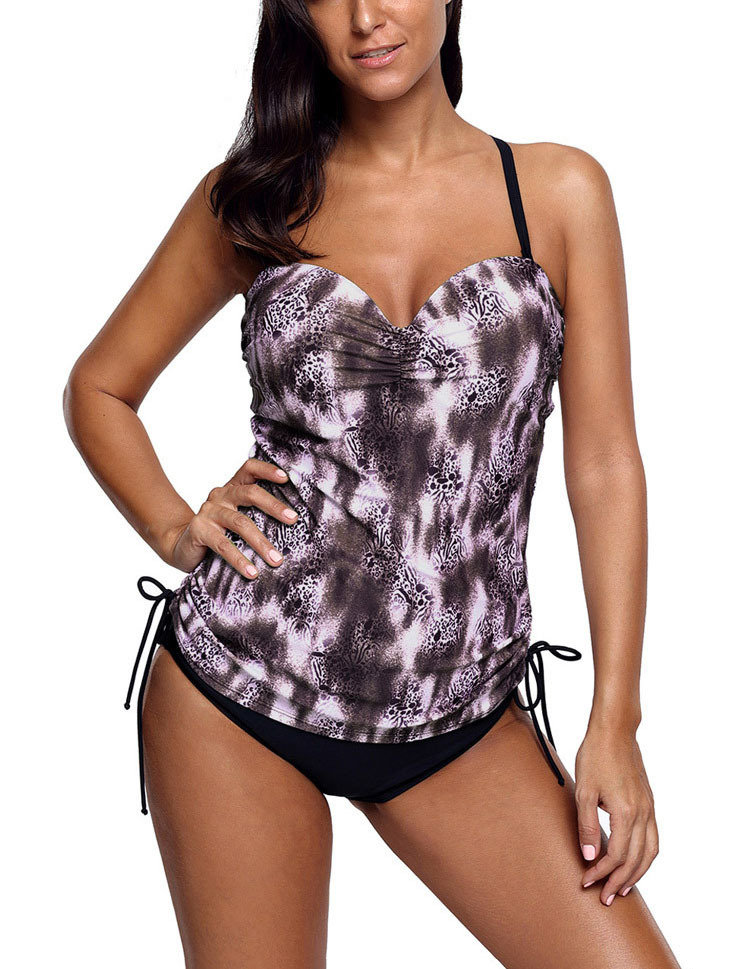 Tankini Swimsuit with Drawstring Sides