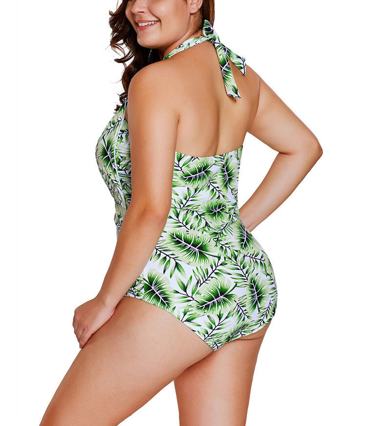 One-Piece Swimsuit with Wide Halter Ties