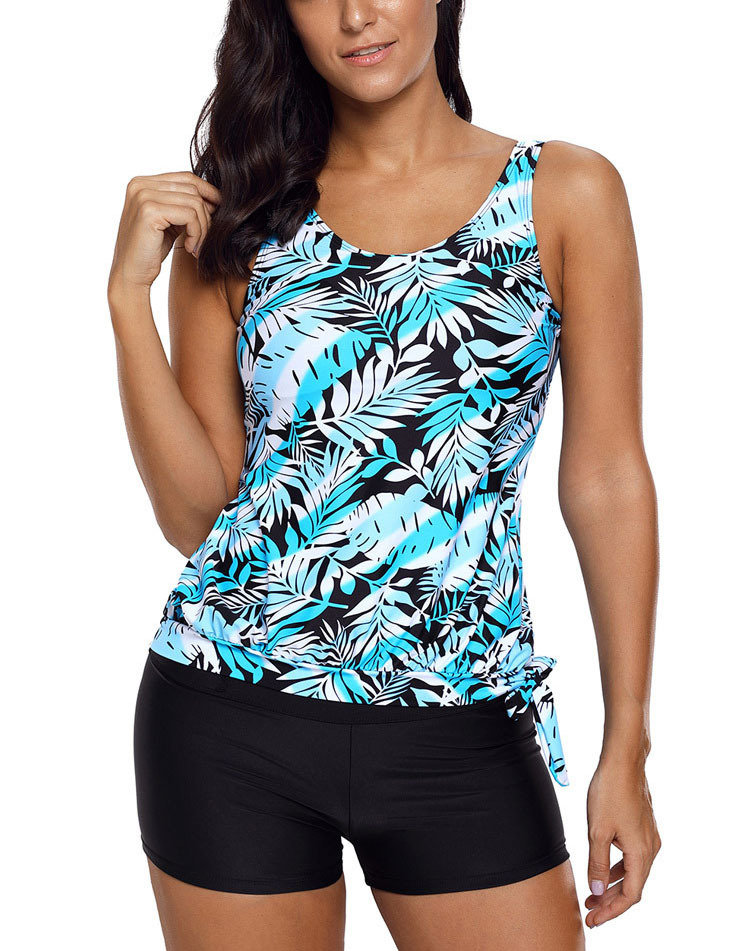 Cute Tankini Swimsuit with Side-Tied Tank Top