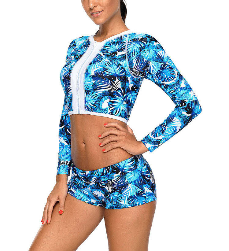 Two-Piece Swimsuit with Zipped Rash Guard and Hip-Hugger Shorts