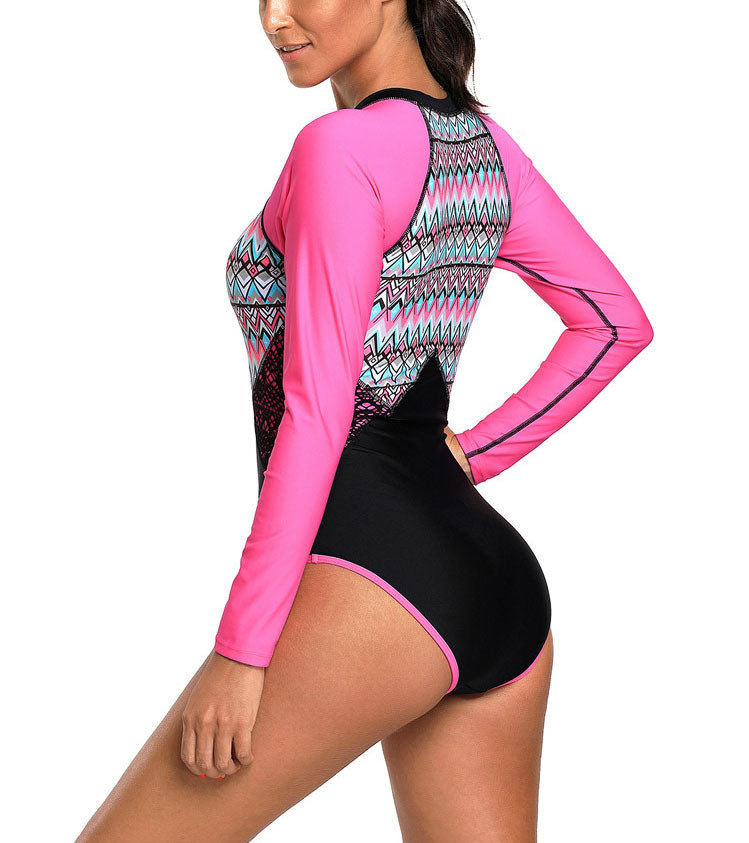 Long-Sleeved One-Piece Swimsuit with Zip Front