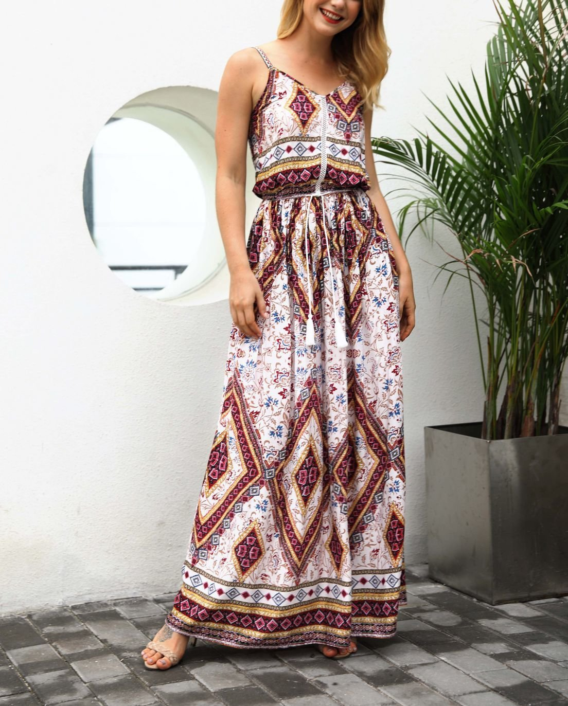 Chiffon Casual Dress with Border Print