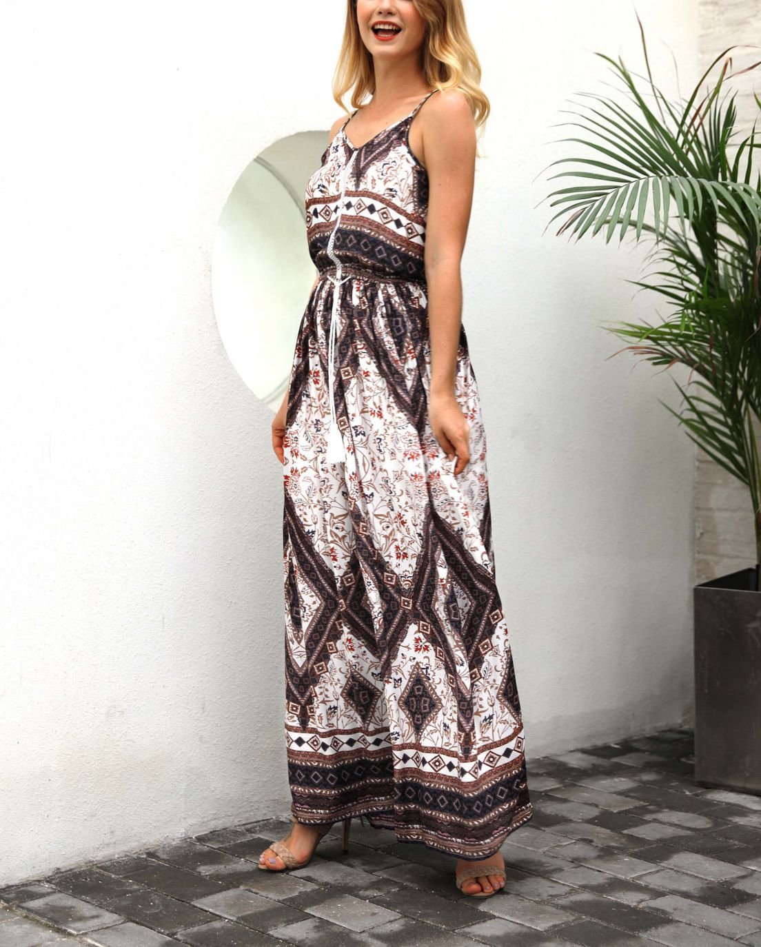 Chiffon Casual Dress with Border Print