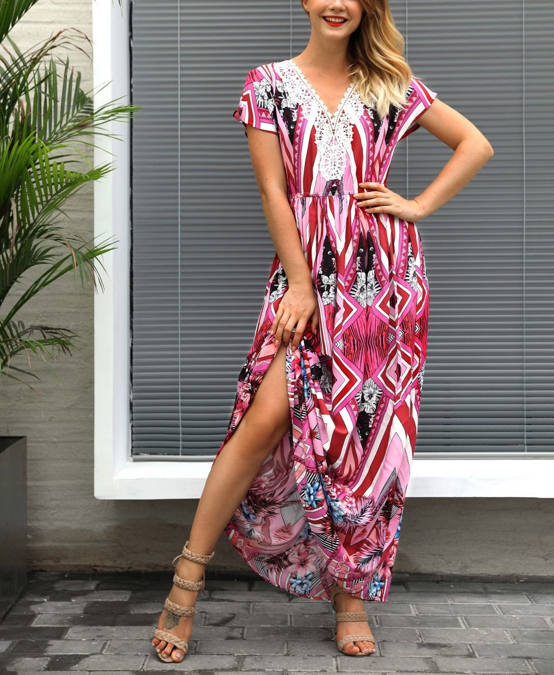 Chiffon Casual Dress with Lace Neckline Detail