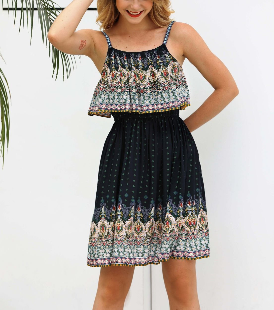 Border Print Casual Dress with Pleated Top Overlay