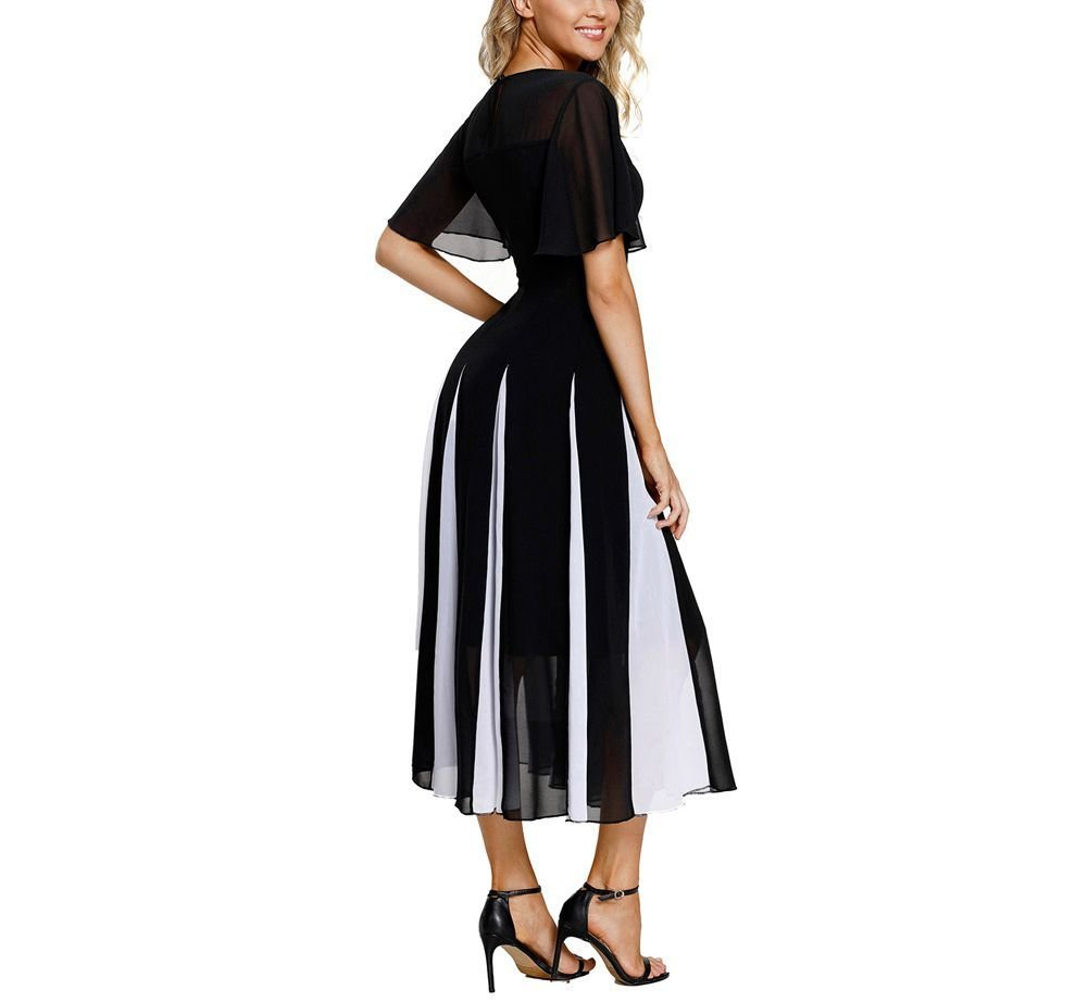 Tea-Length Formal Dress with Contrasting Godets
