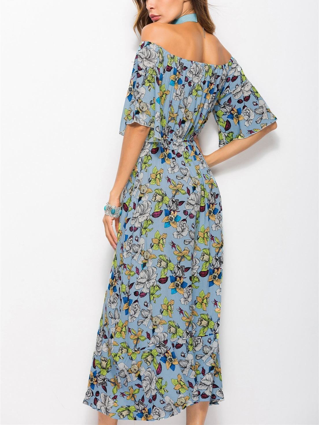 Boho Casual Dress with Elbow-Length Sleeves