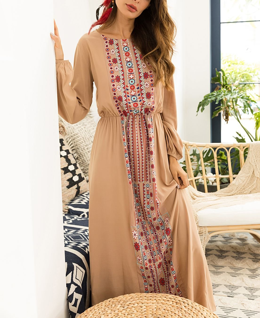 Maxi Casual Dress with Long Sleeves and Printed Front Panel