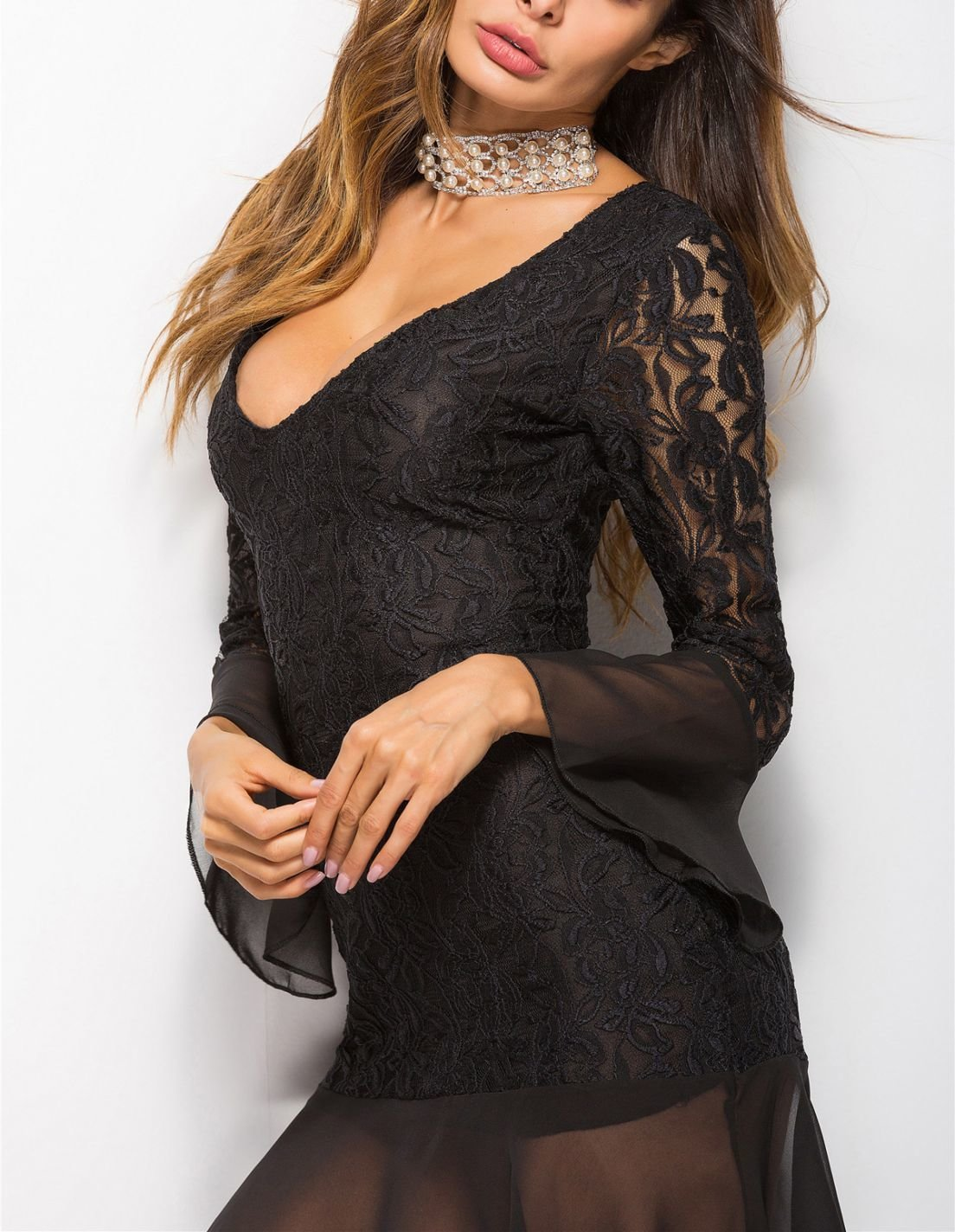 Lace and Sheer Cocktail Dress with Long Sleeves