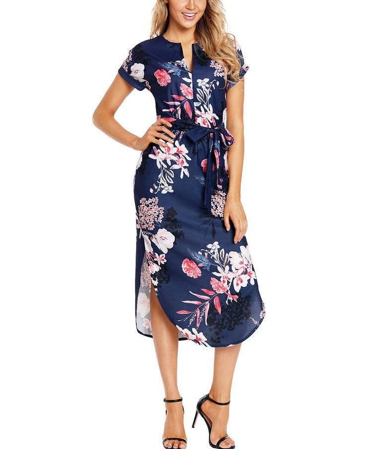 Work Dress with Shirttail Hem and Short Sleeves