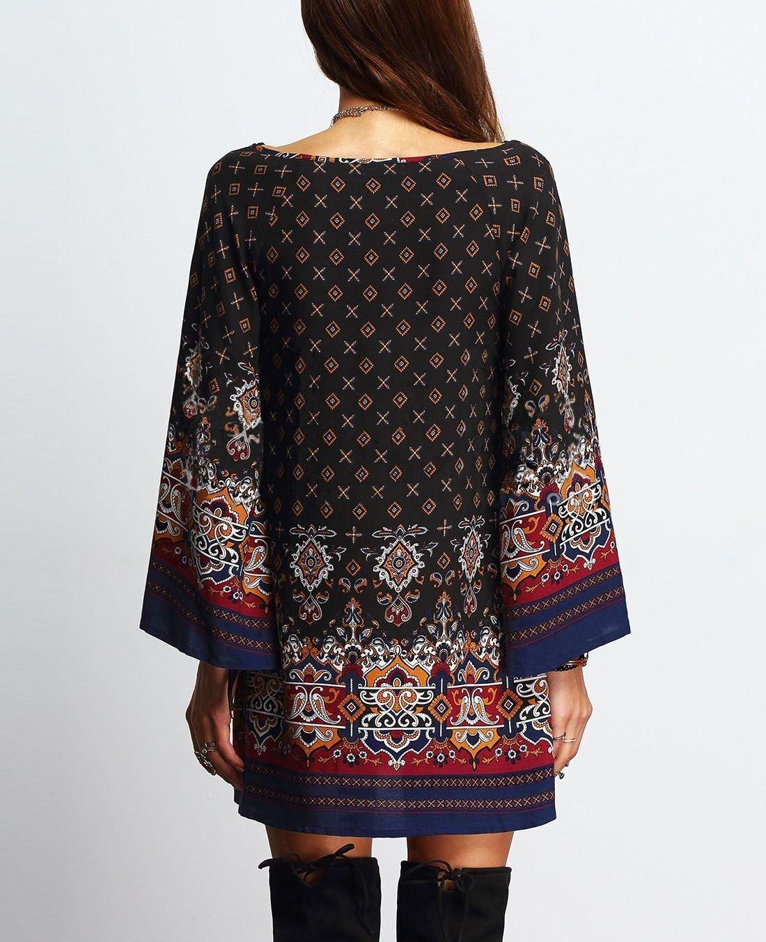 Long-Sleeved Loose Fit Boho Casual Dress