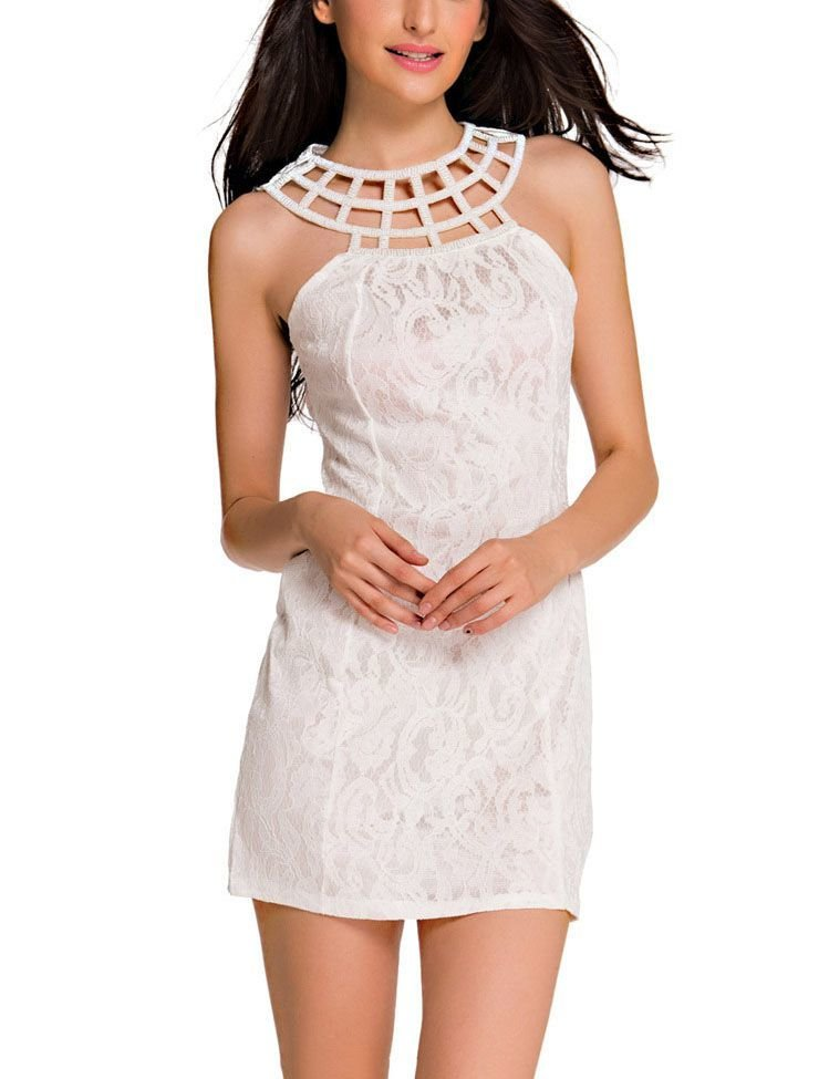 Sleeveless Mini Cocktail Dress with Lattice Yoke