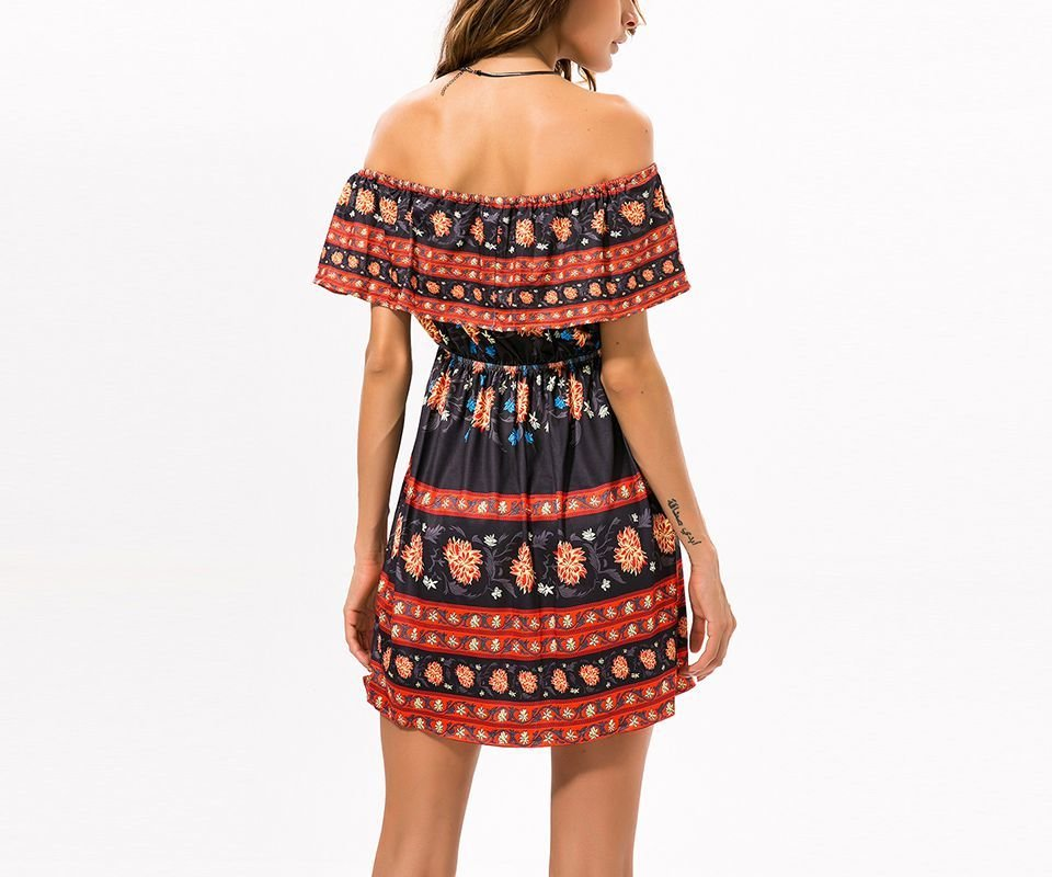 Ruffled Boho Mini Casual Dress