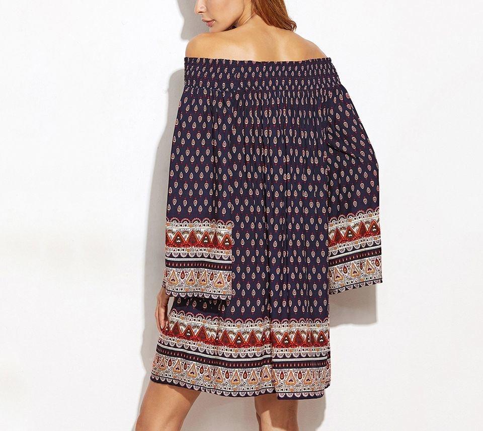 Boho Casual Dress with Drawstring Waist