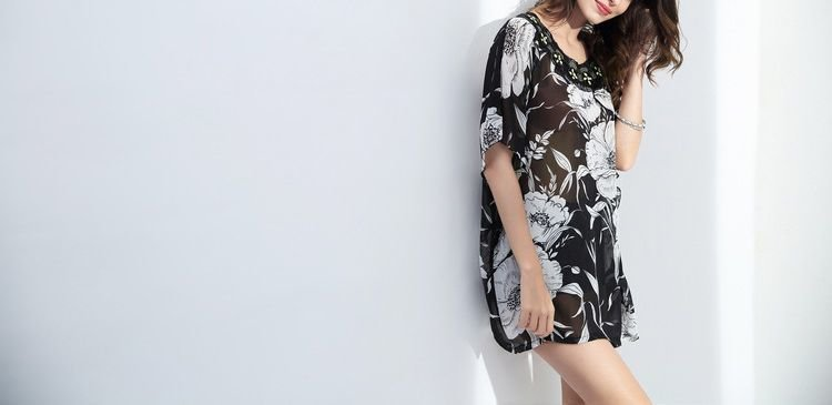 Sheer Chiffon Top in Tunic Length