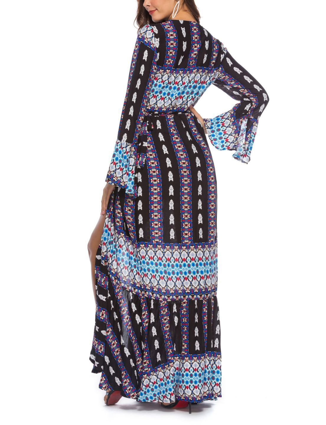 Large Size Casual Dress with Wrap and Tie Front