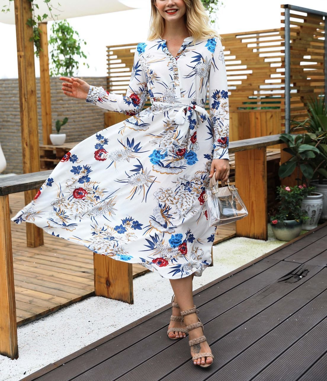Tea-Length Chiffon Cocktail Dress