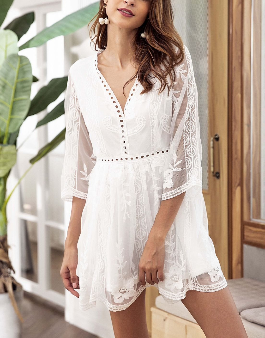 Lace Casual Dress with Eyelet Trim