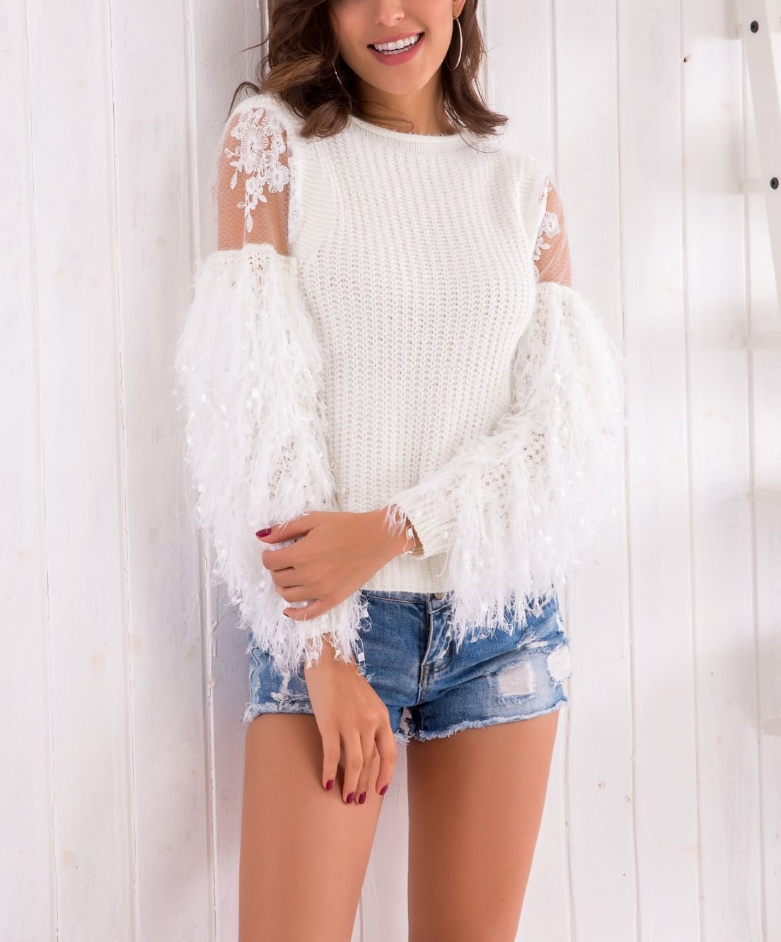 Sweater Top with Lace Sleeve Details