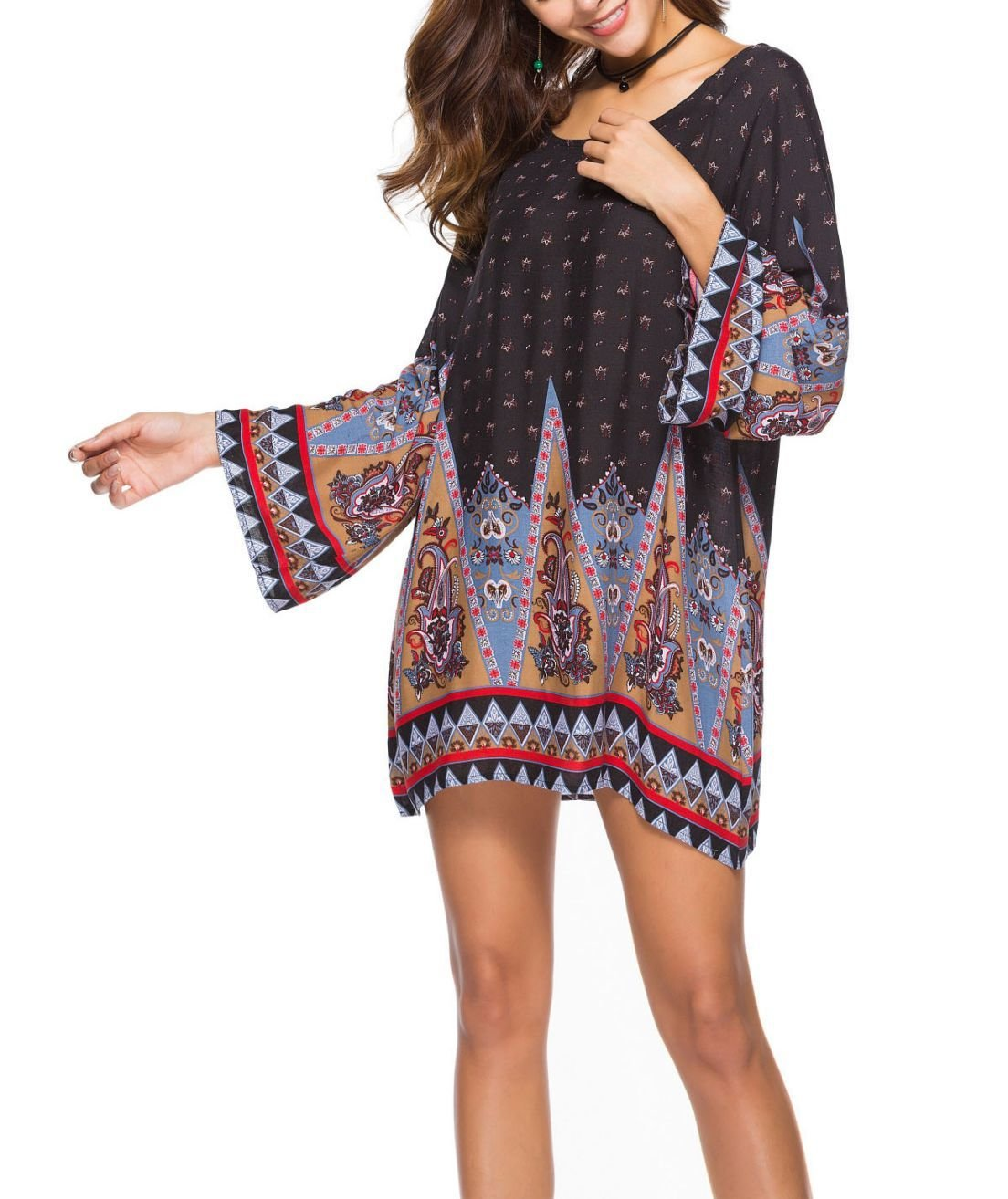 Pullover Casual Dress with Loose Fit and Long Sleeves