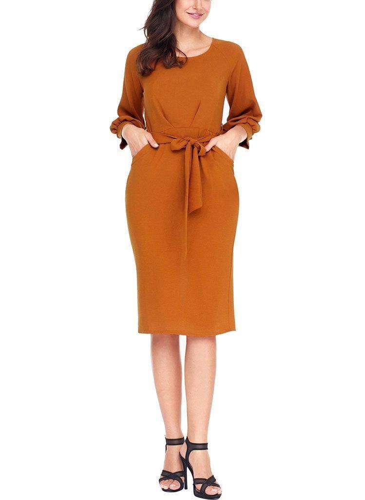 Basic Long-Sleeved Work Dress