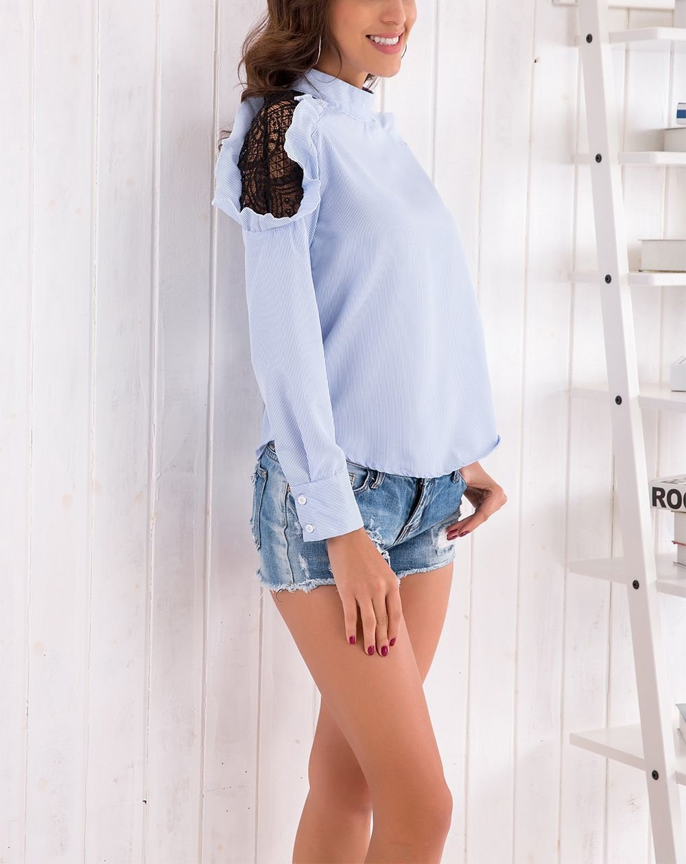 Top with Lace Shoulder Accents