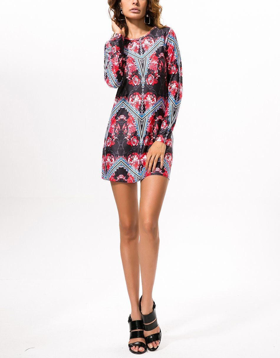 Sleek Mini Cocktail Dress with Long Fitted Sleeves