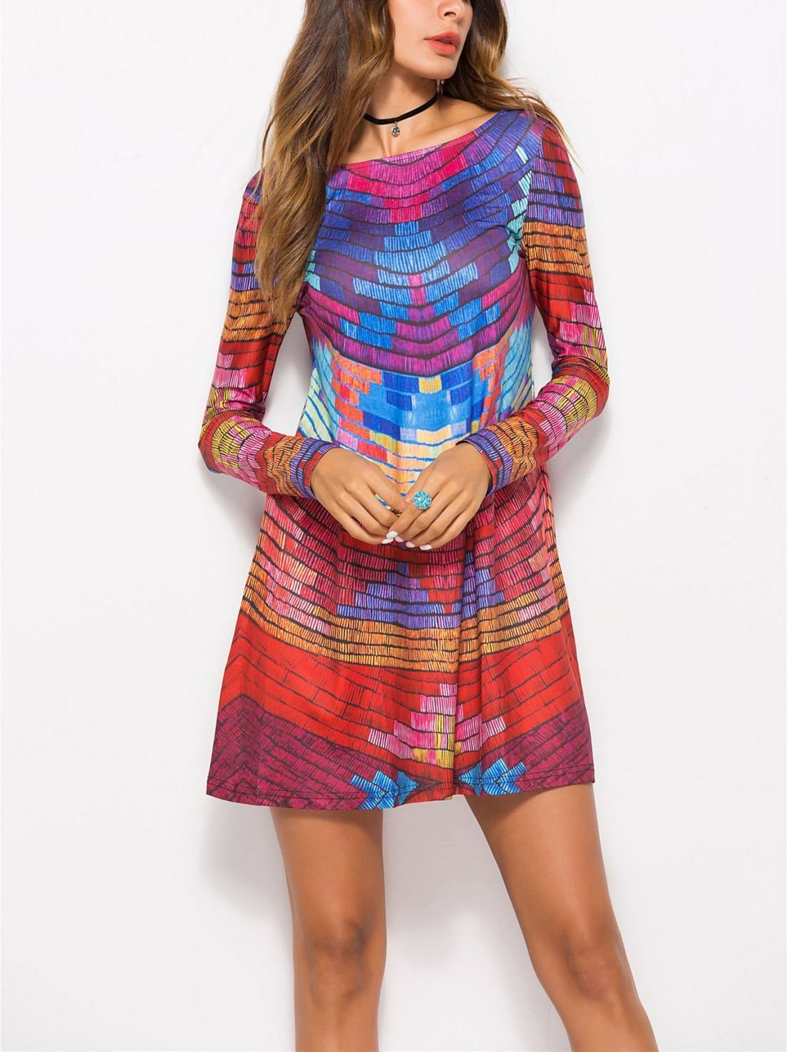 Rainbow-Colored Cocktail Dress with Low Scoop Back