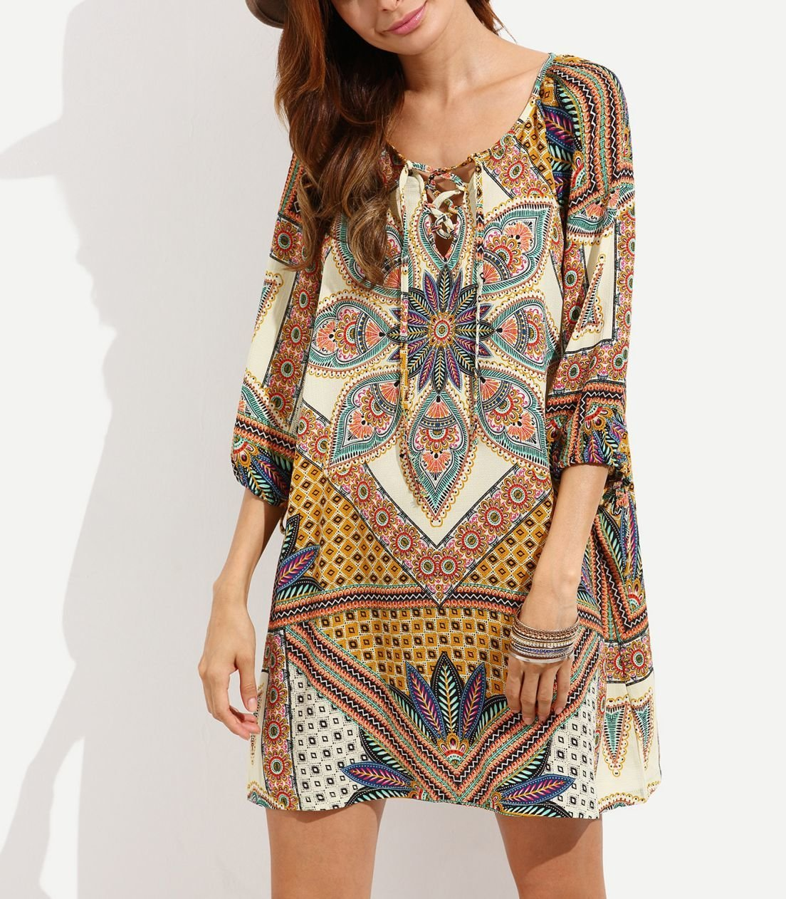 ¾ Sleeve Peasant Style Casual Dress with Loose Fit