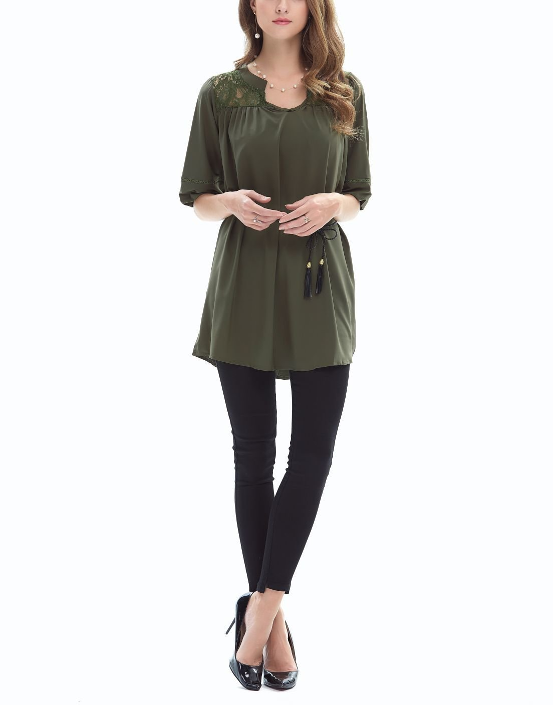 Pullover Tee with Lace Yoke