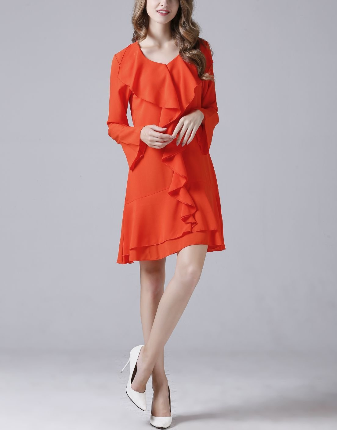 Flounce Front Chiffon Cocktail Dress