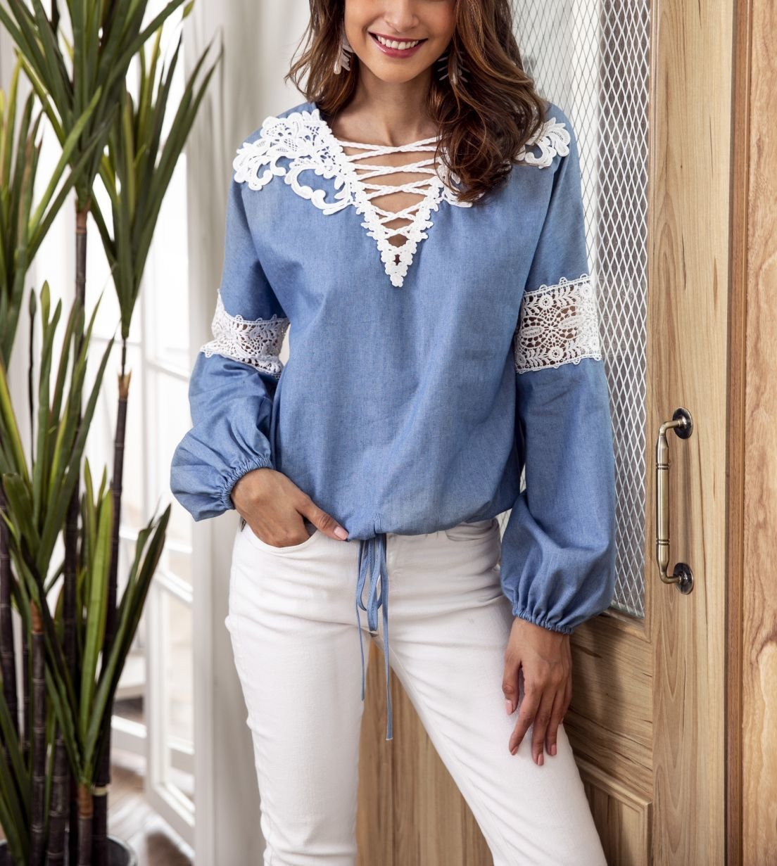 Peasant Top with Lace Trim