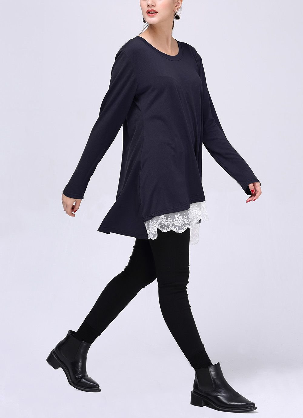 Lace-Trimmed Tee with Long Sleeves