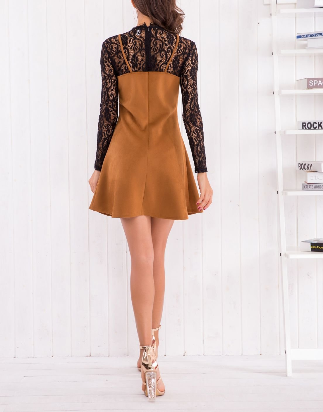 Suedette and Lace Cocktail Dress with Two-Piece Look