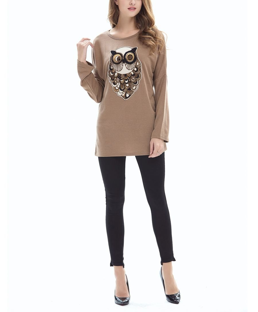 Large Size Tee with Owl Motif