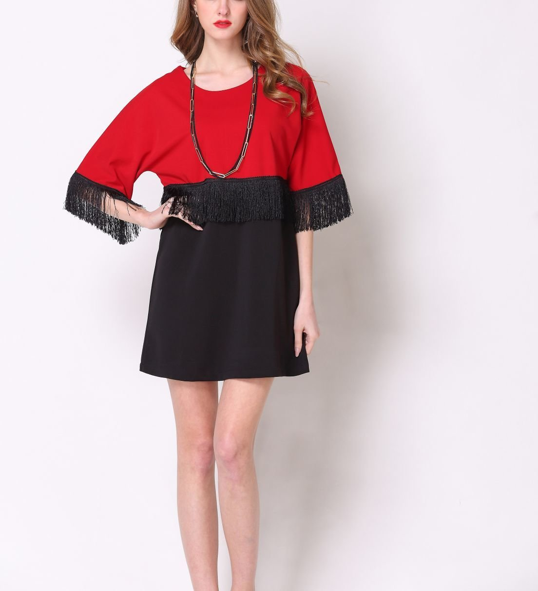 Short Cocktail Dress with Fringed Trim