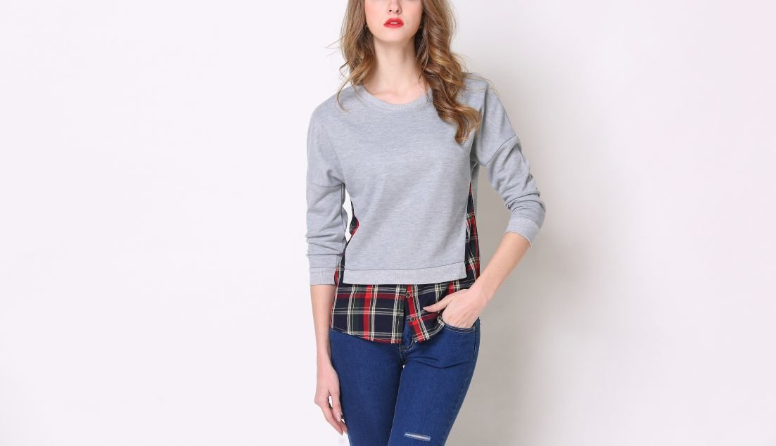 Knit and Plaid Tee in Large Sizes