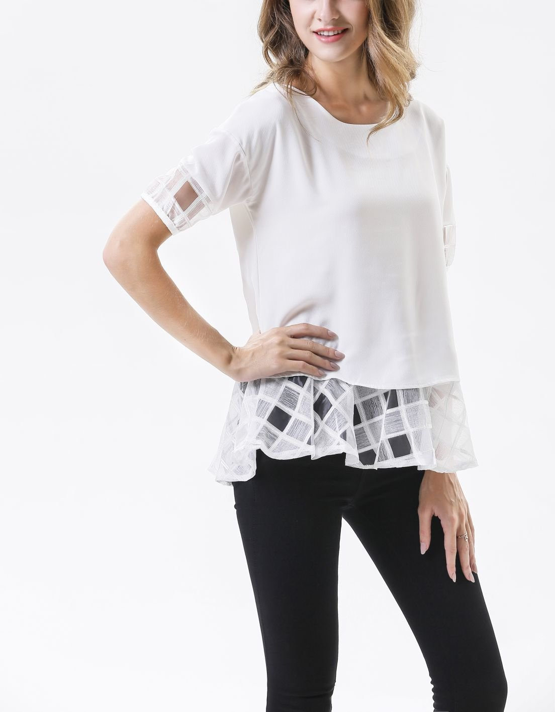 Tee Top with Chiffon Peplum and Sleeves