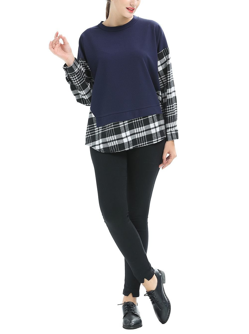 Knit Tee with Plaid Sleeves in Large Sizes