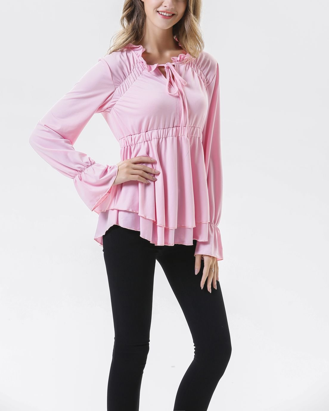 Ruffled Top with Tied Collar