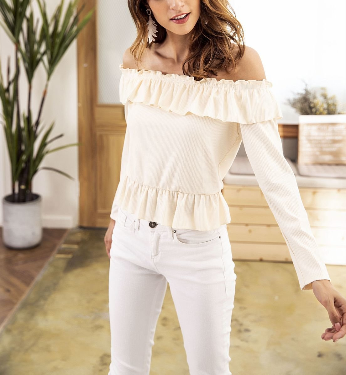 Ruffled Cropped Top with Long Sleeves