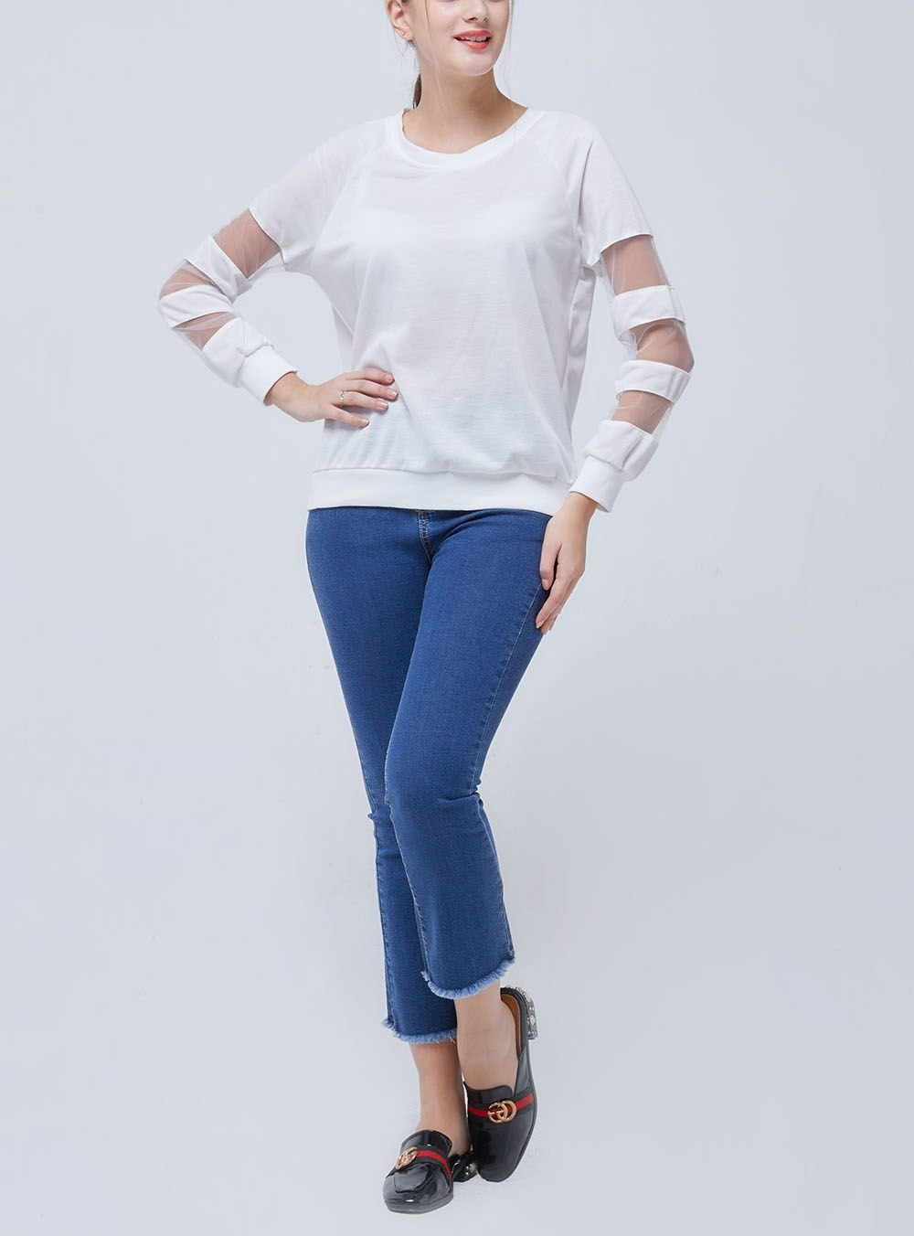 Long-Sleeved Tee with Sheer Inserts