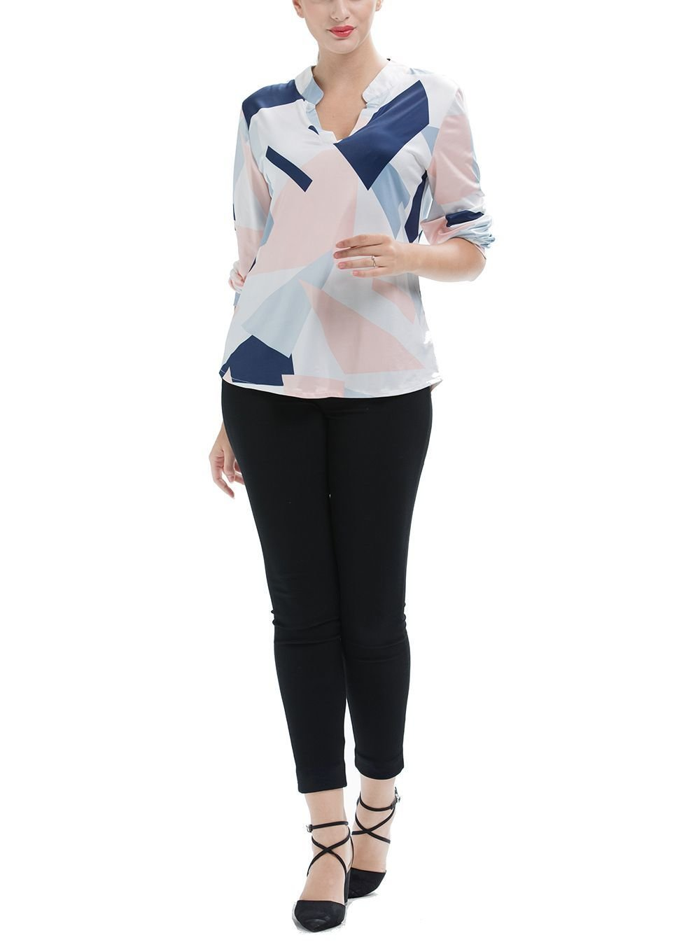 Colorful Top with Band Collar and Long Sleeves