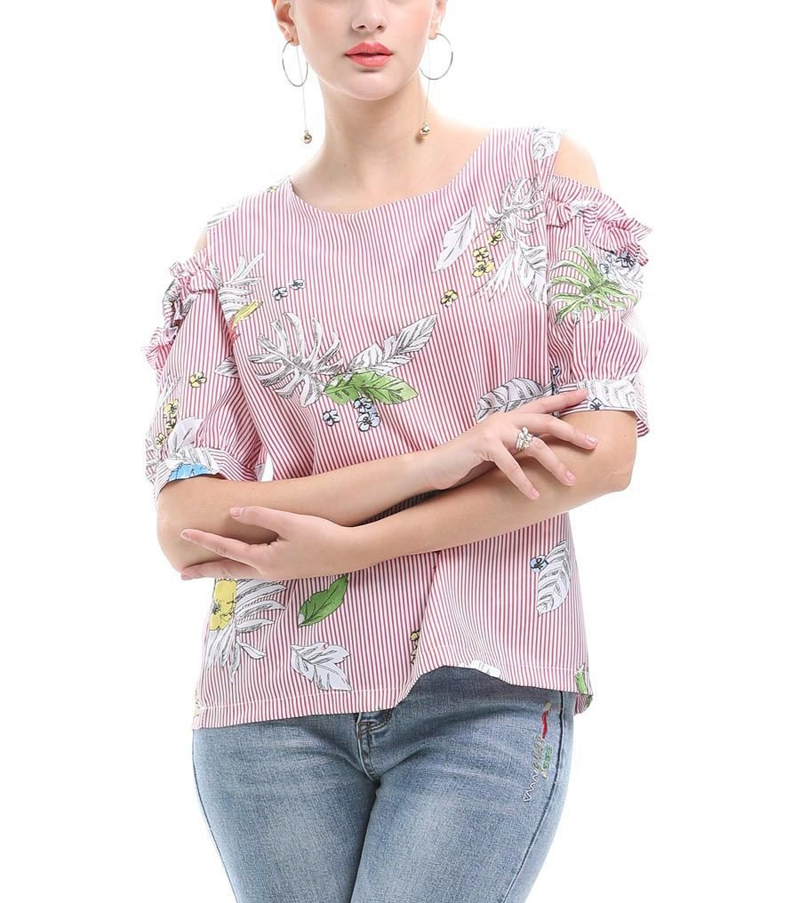 Cold Shoulder Top with Puff Sleeves