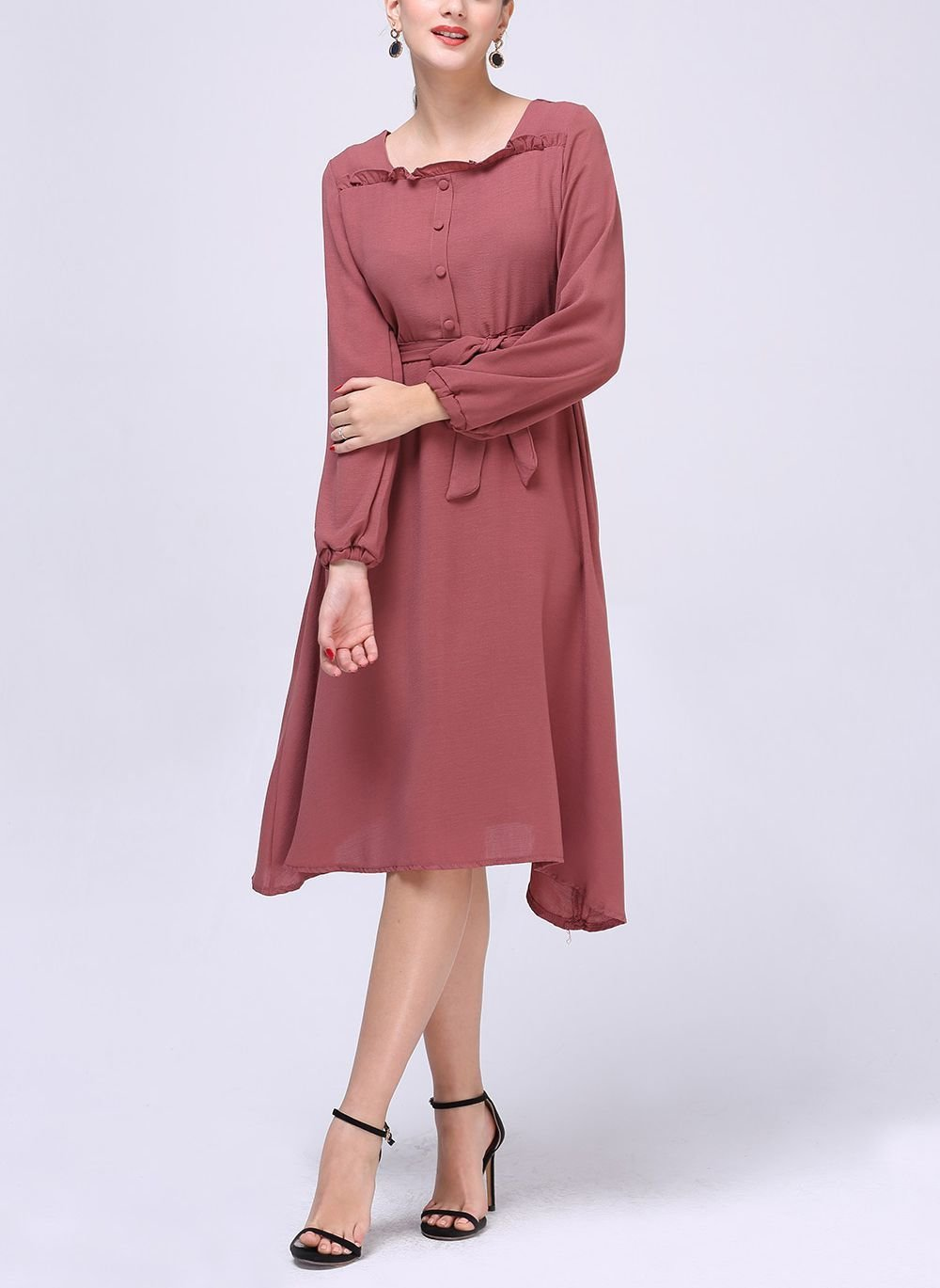 Work Dress with Square Neckline and Long Sleeves